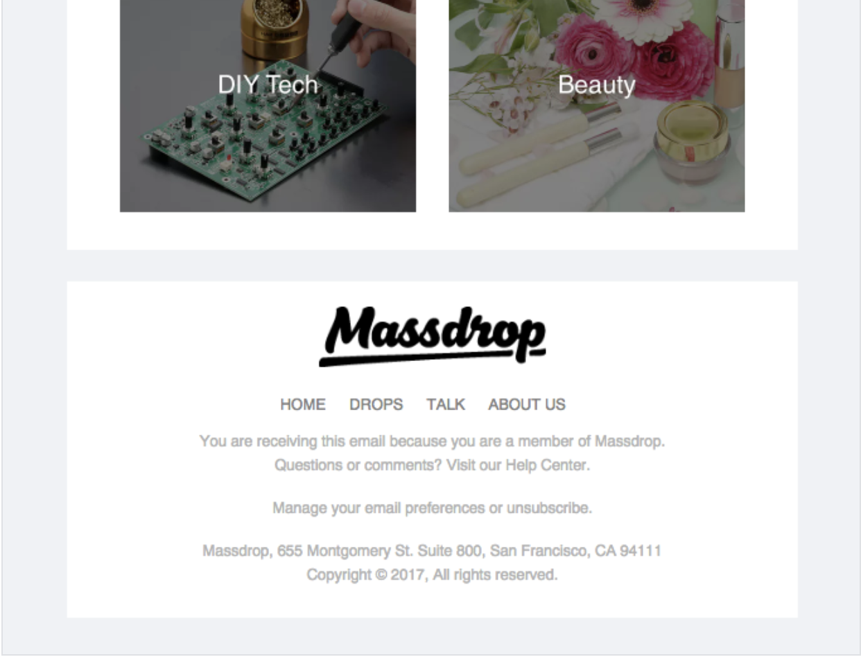 Massdrop welcome email