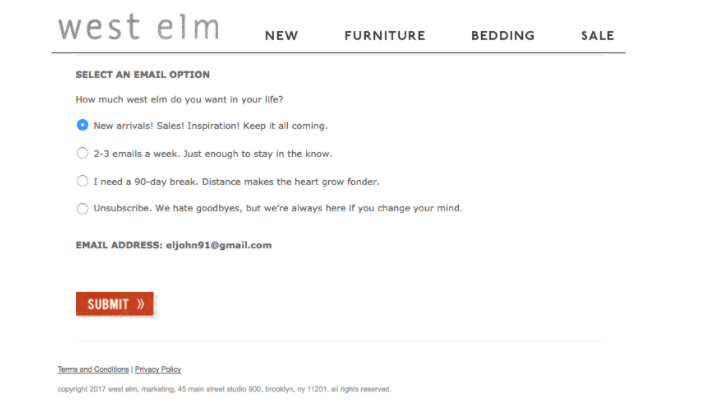 west elm email preference centre