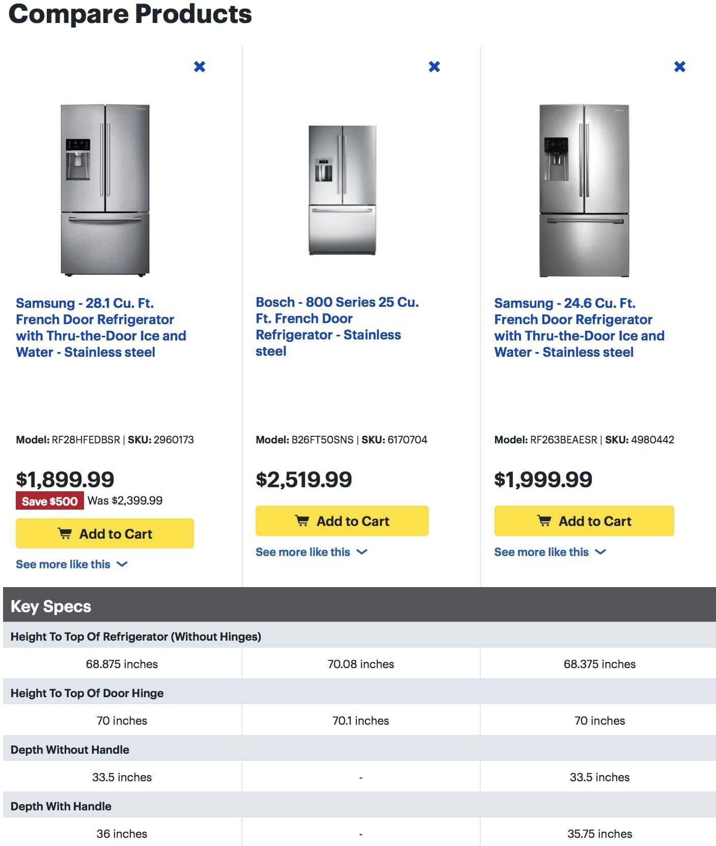 example of comparison charts in product descriptions