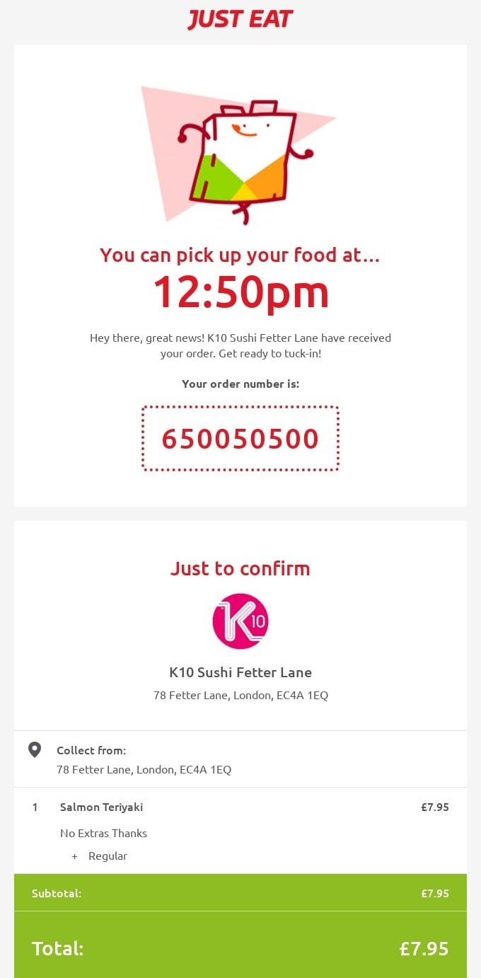 Example of a post purchase email subject line from just eat