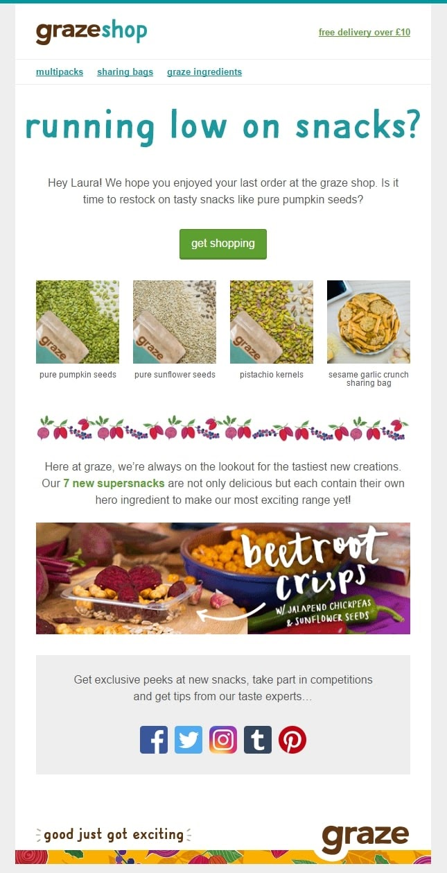 example of replenishment email from graze