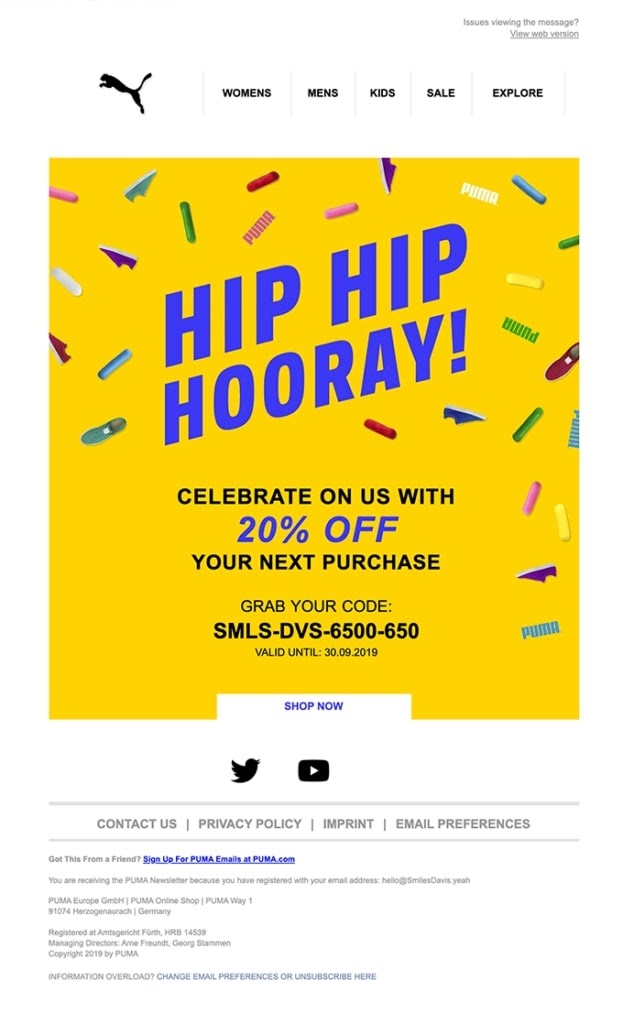 example of special day post purchase email