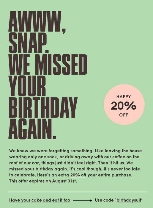 Example of special day post-purchase email communication