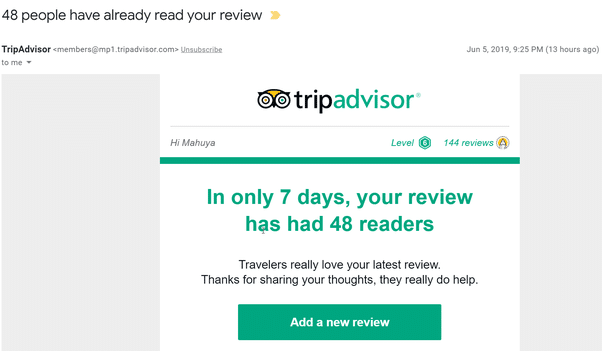 Reviews in transactional emails from TripAdvisor