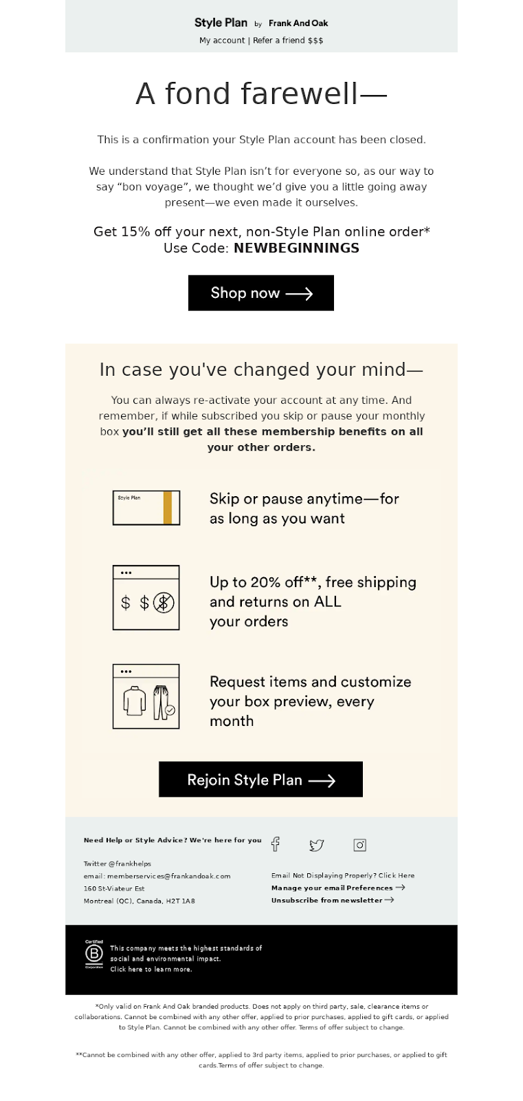 Example of incentive-based transactional emails