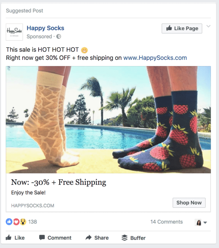 example of customized ad images from happy socks