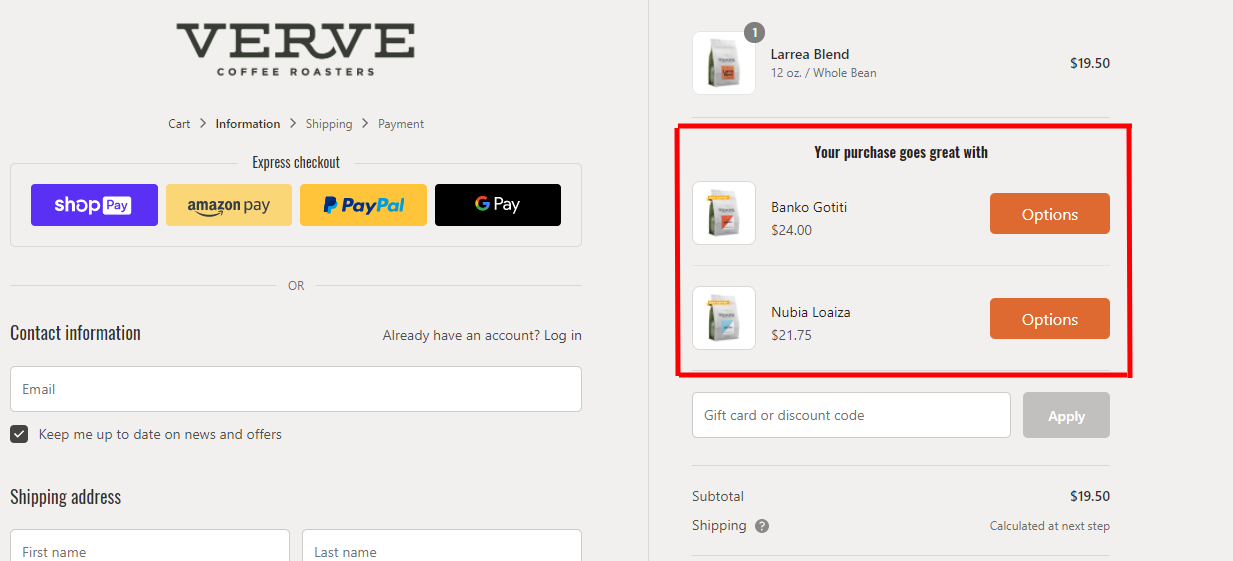example of upselling to increase ecommerce ROAS