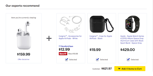 example of bundling products at checkout