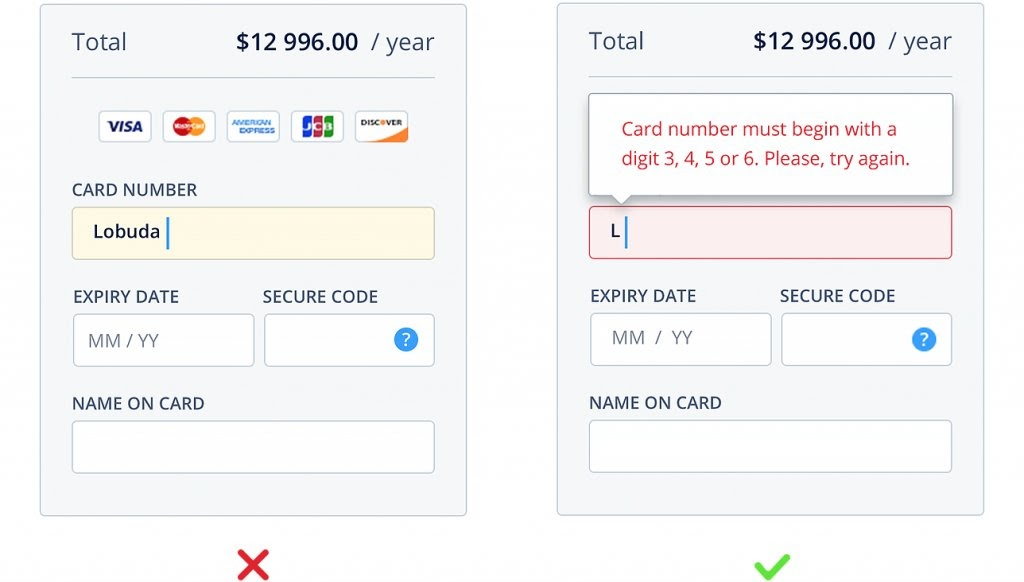example of in-line validation in forms to improve conversions