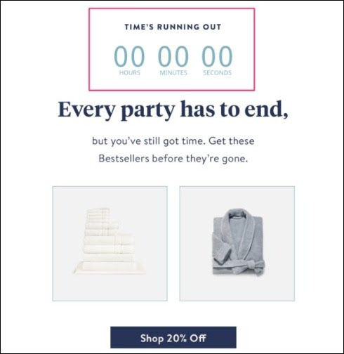example of countdown timer by Brooklinen to spark urgency