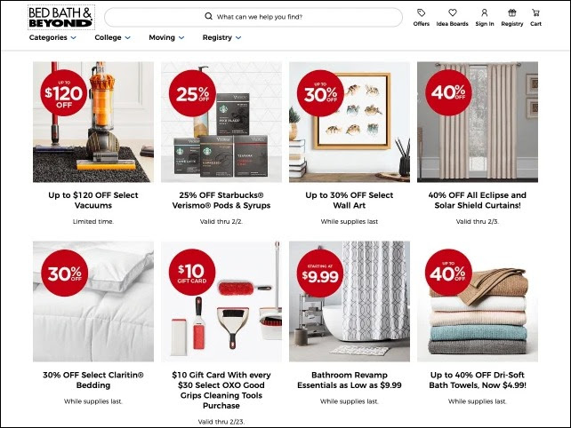 Example of limited offer banners by Bed Bath & Beyond