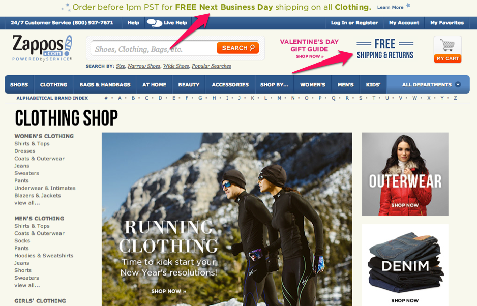 Example of limited time free shipping offer by Zappos