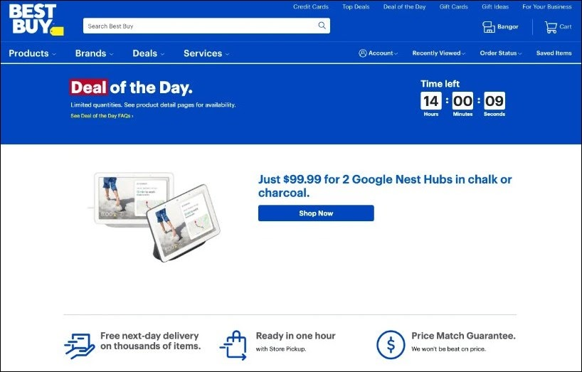 Example of increasing AOV with daily offers by BestBuy