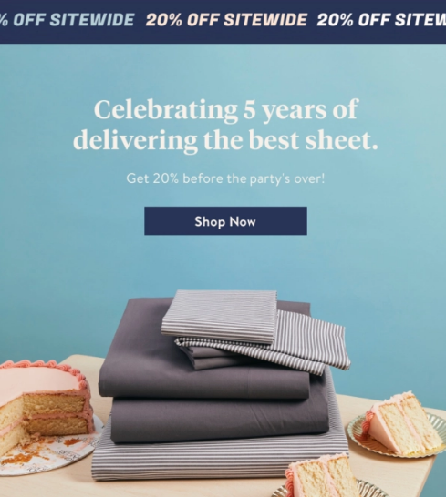 Example of limited sales emails from Brooklinen