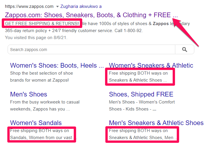 example of how Zappos promotes its limited offers on Google