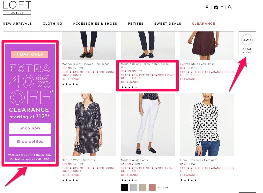 Example of clearance sale offers from Loft