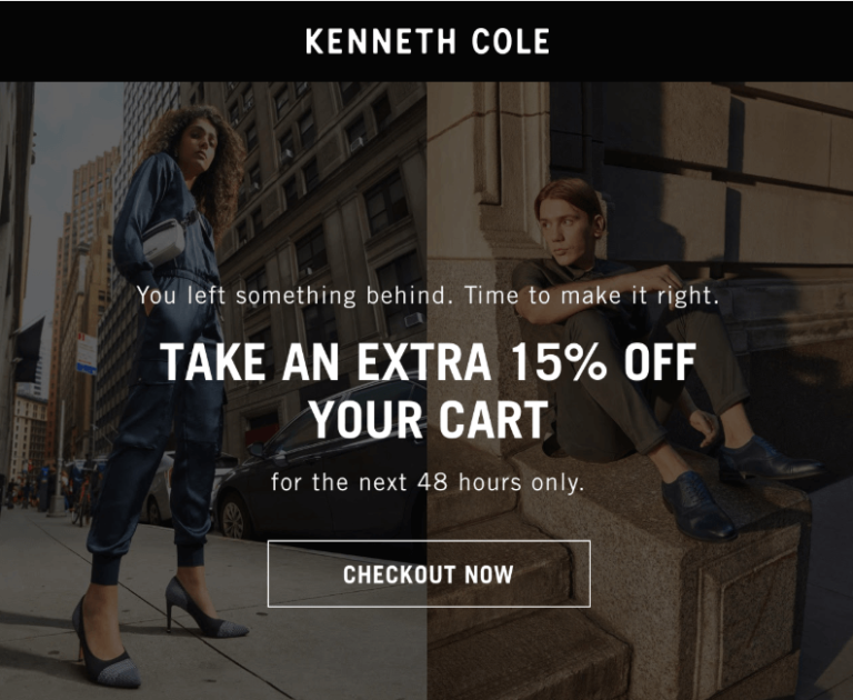 first cart abandonment email by Kenneth Cole