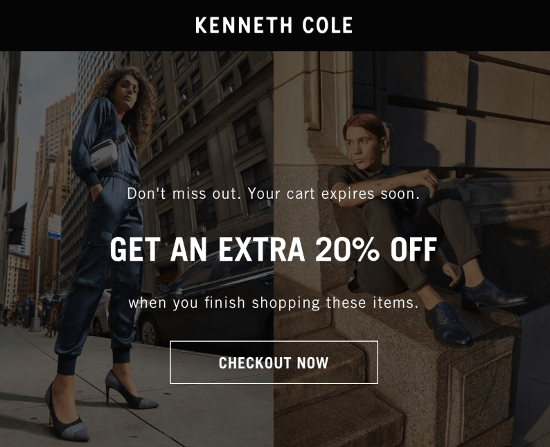second cart abandonment email by Kenneth Cole