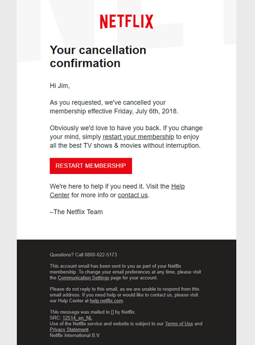 first drip email campaign by Netflix