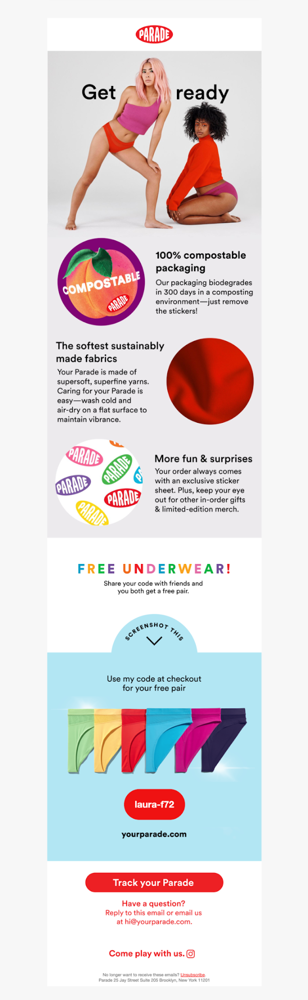 drip email campaign by Parade