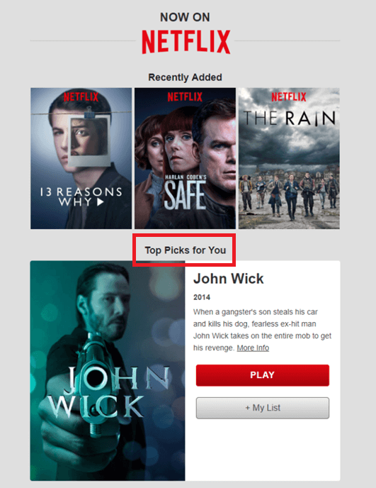 second drip email campaign by Netlix