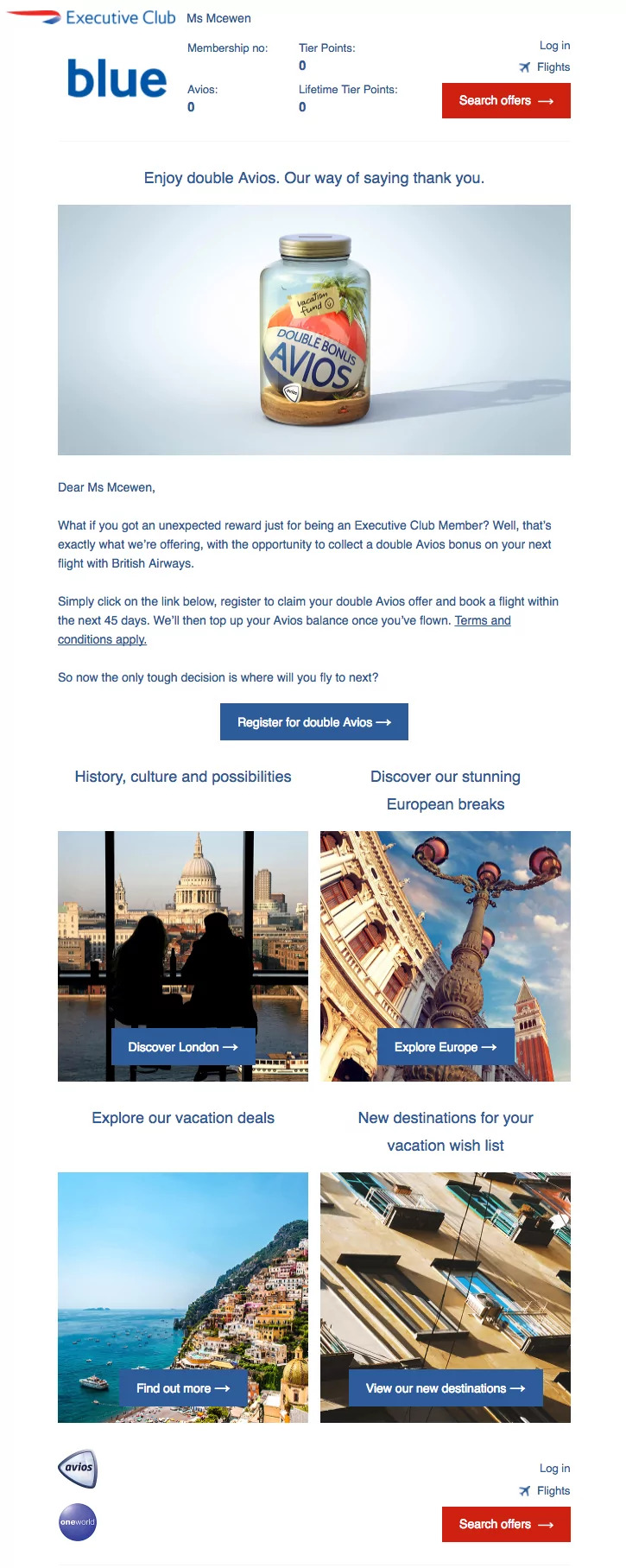 upsell drip email campaign by British Airways
