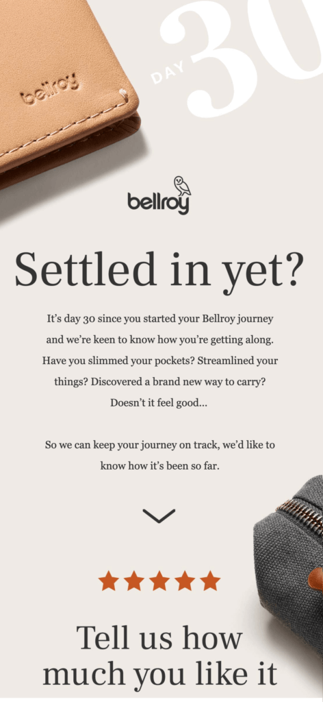 Bellroy drip email campaign 1