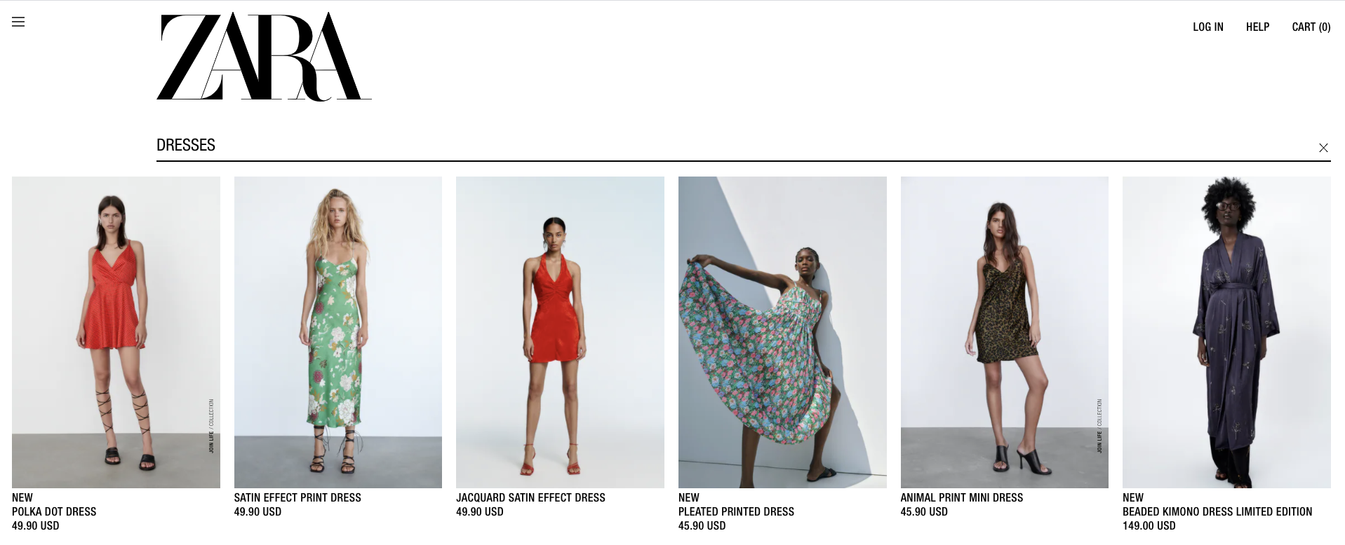 Example of smart search box placement from Zara