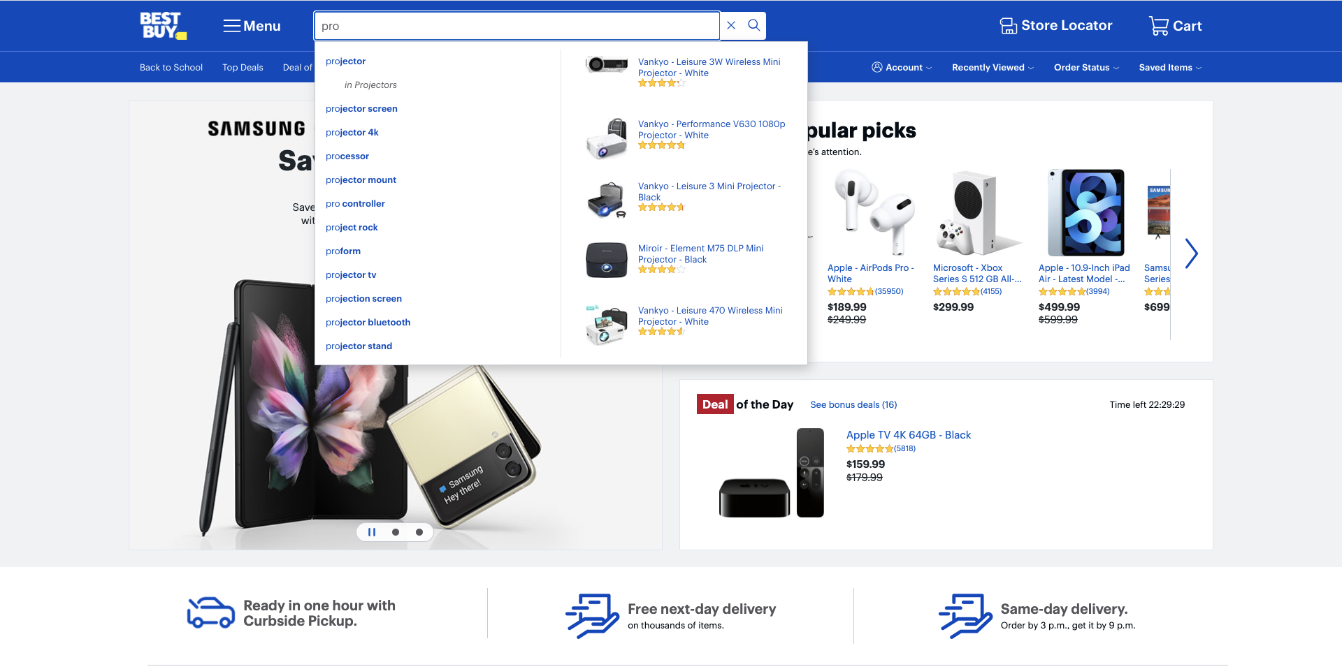 example of using autocomplete in site search by BestBuy