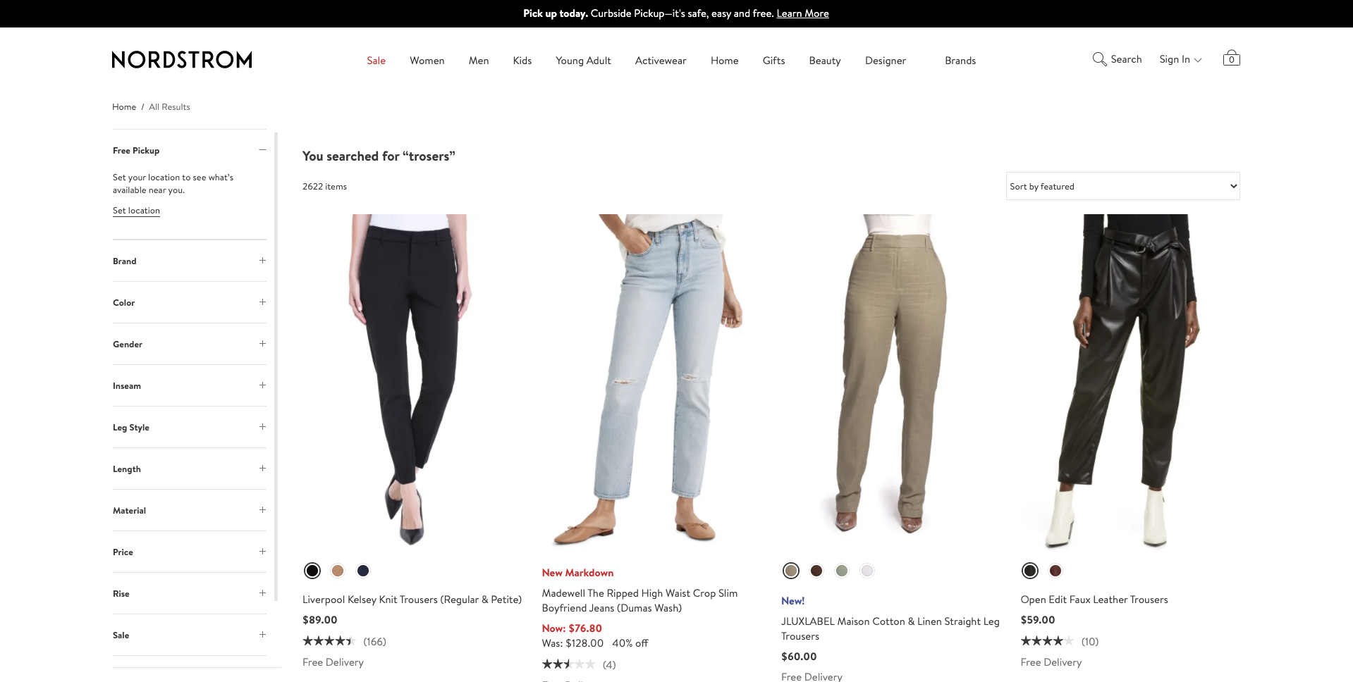 example of search algorithm by Nordstrom