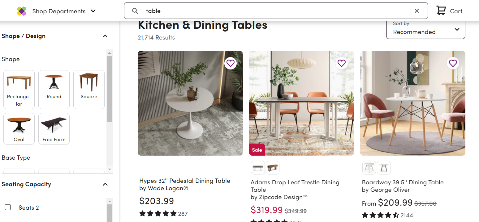 Example of relevant product recommendations by Wayfair