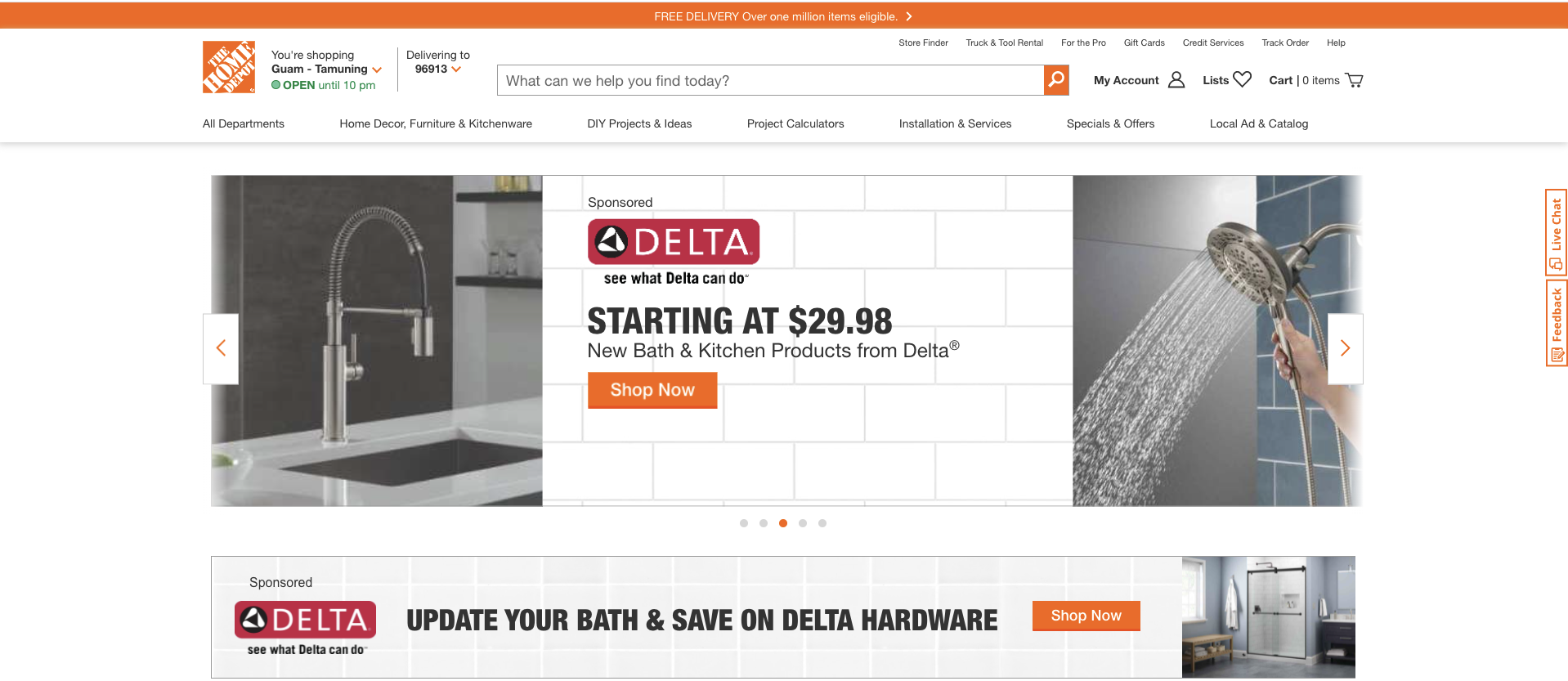 Example of search prompts from Home Depot