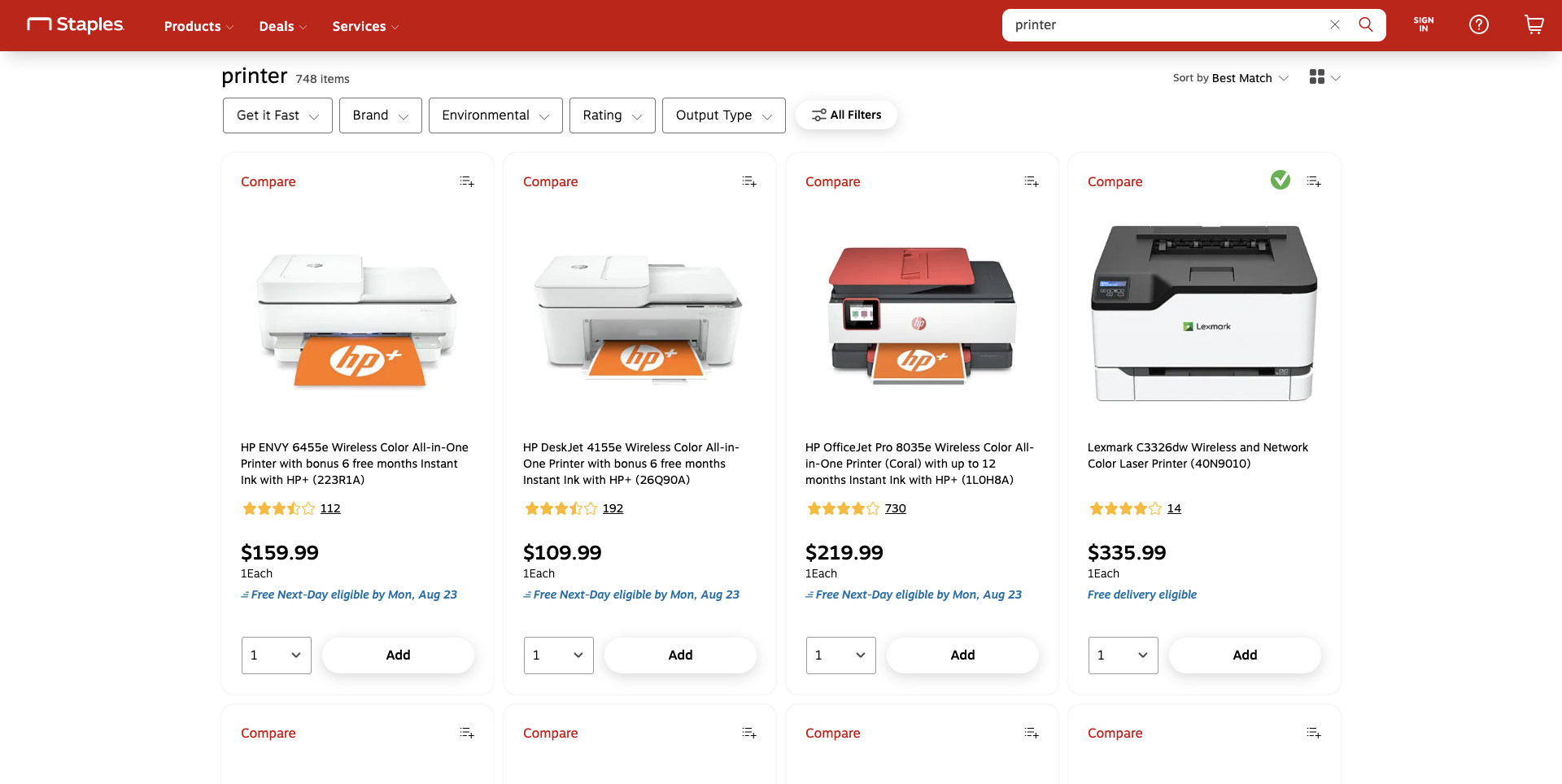 Example of search results with CTA by Staples
