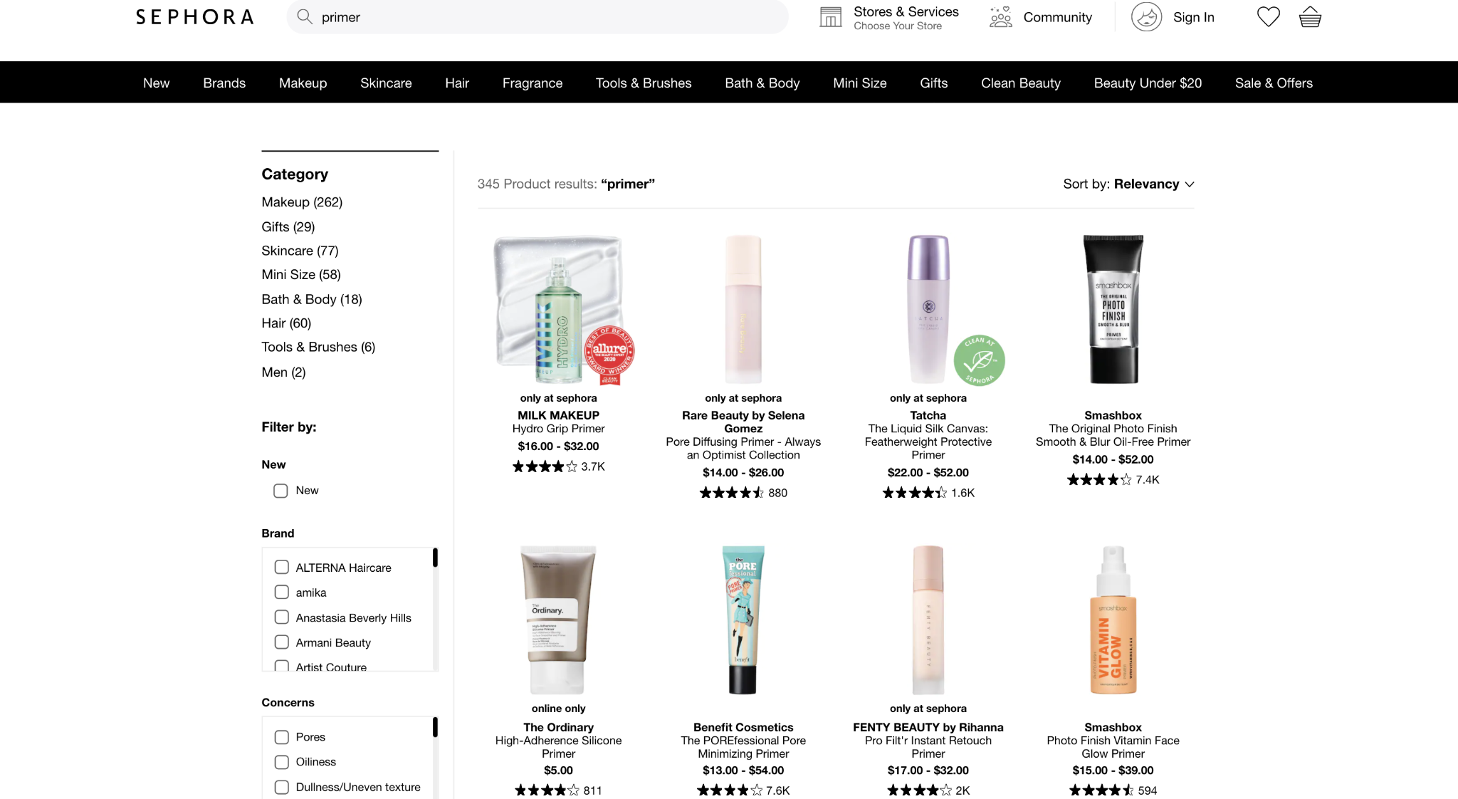 Example of customer ratings on site search page by Sephora