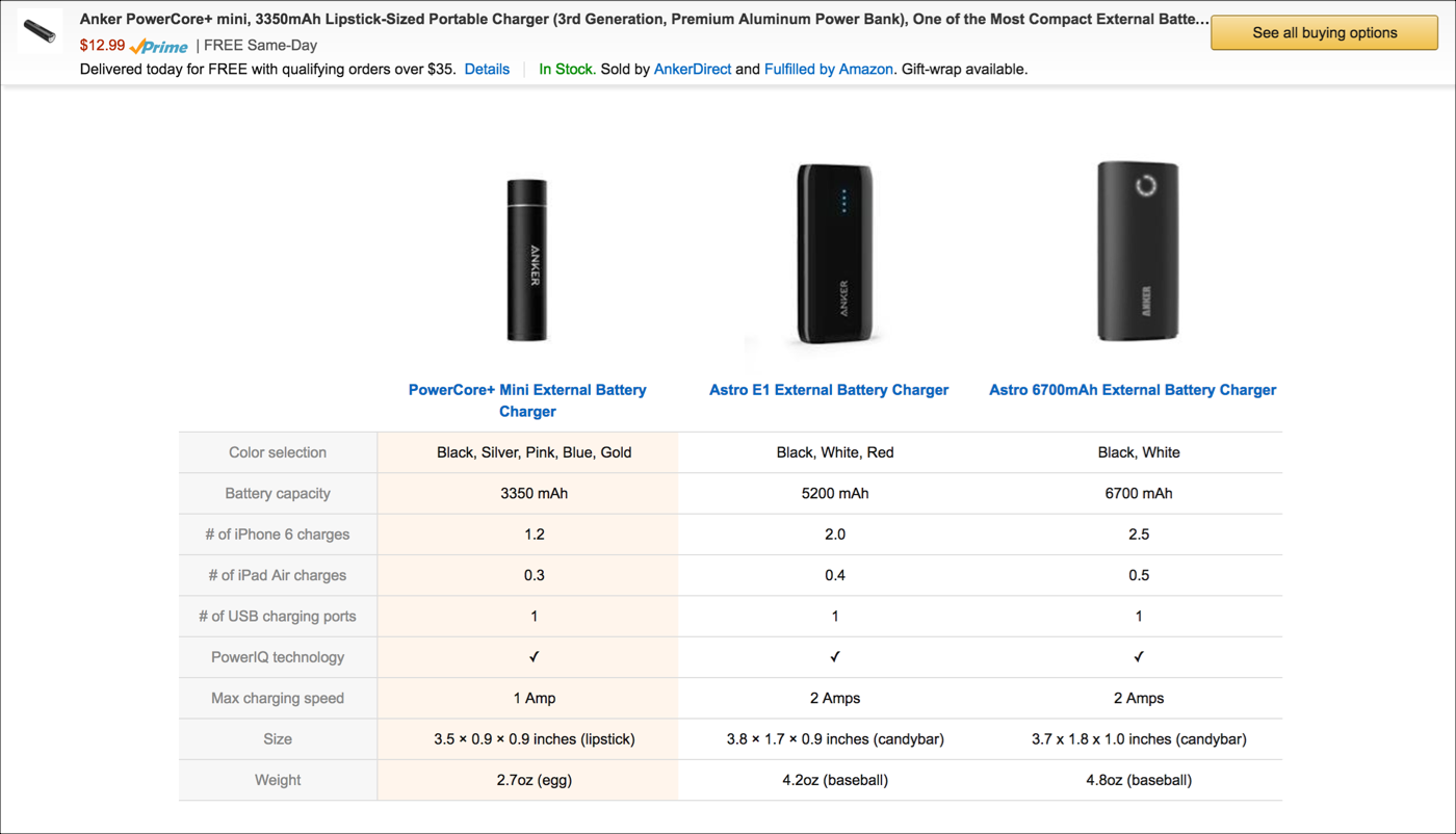 Example of a comparison table on a search results page