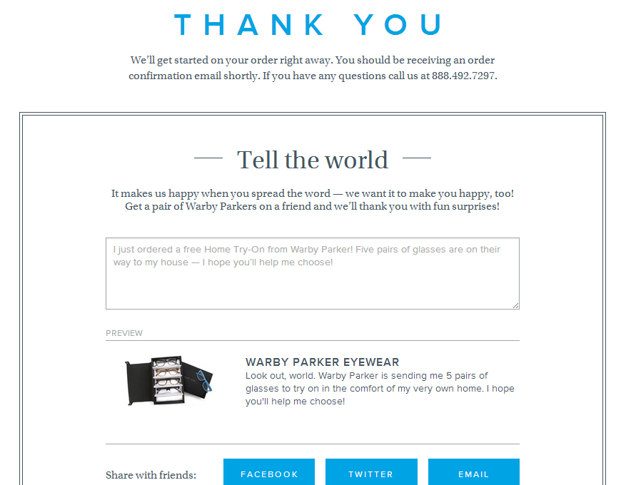 Warby Parker's message for thank you, you are awesome