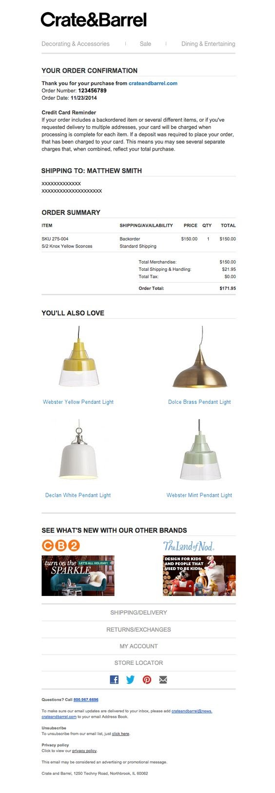 order confirmation email example from Crate & Barrel