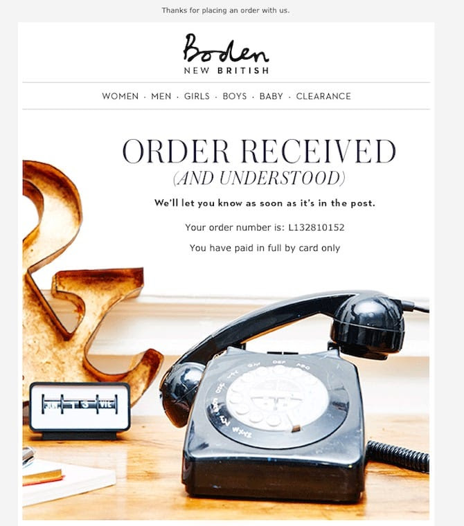 order confirmation email example from Boden