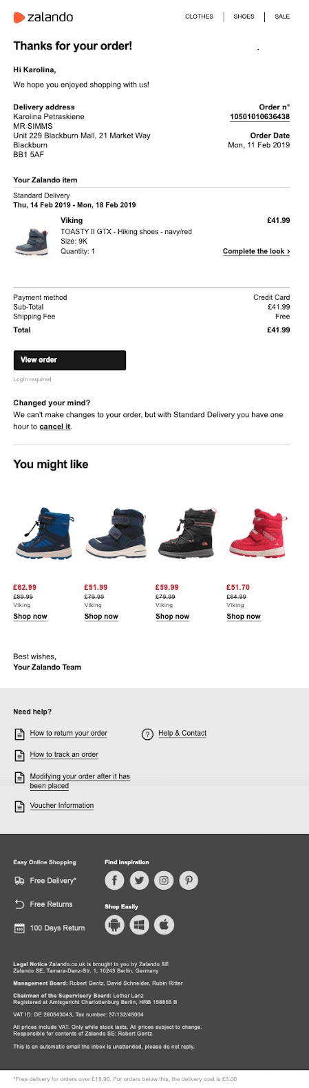 order confirmation email example from Zalando