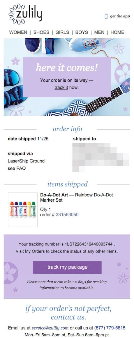 order confirmation email example from Zulily