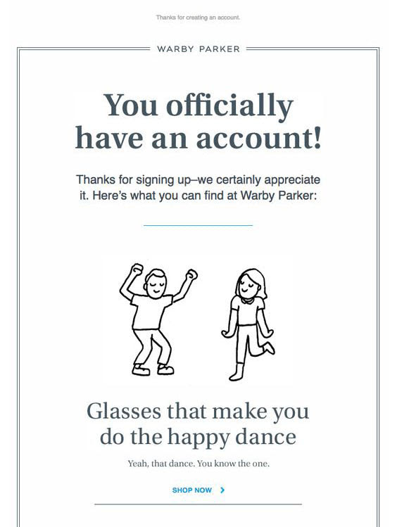Example of account confirmation email from Warby Parker