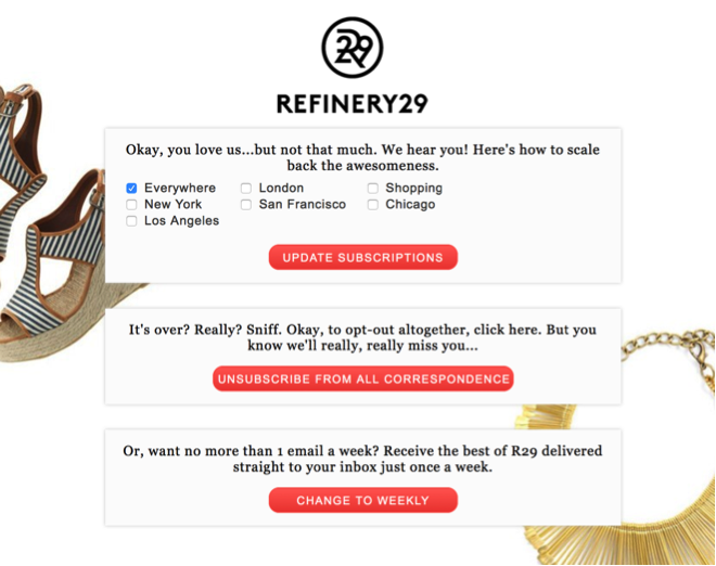 Example of unsubscribe confirmation email by Refinery29