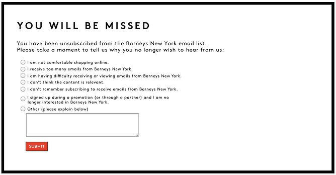 Example of unsubscribe confirmation email by Barneys New York