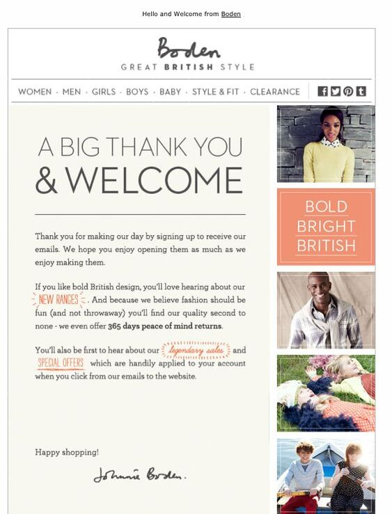 Example of newsletter confirmation email by Boden