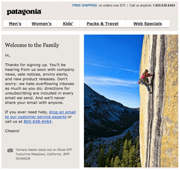 Example of account confirmation email by Patagonia