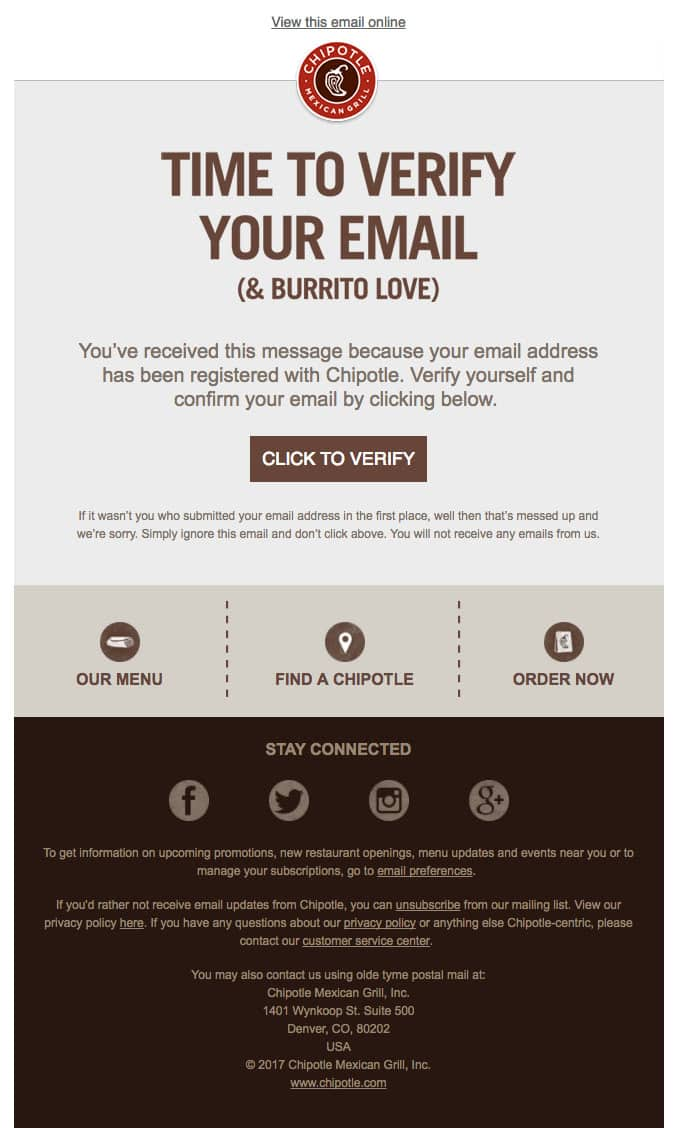 Example of newsletter confirmation email by Chipotle