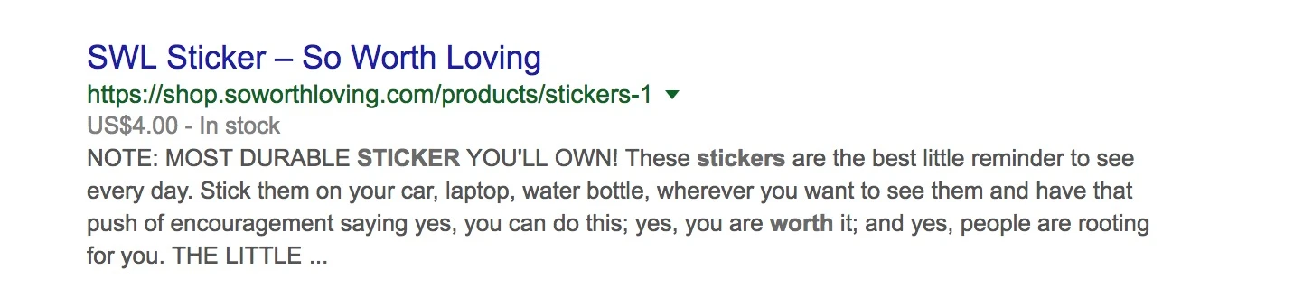 Example of how So Worth Loving uses SEO for product pages