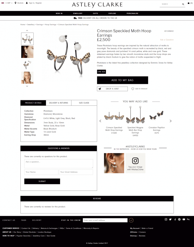 AstleyClarke product page design example for storytelling