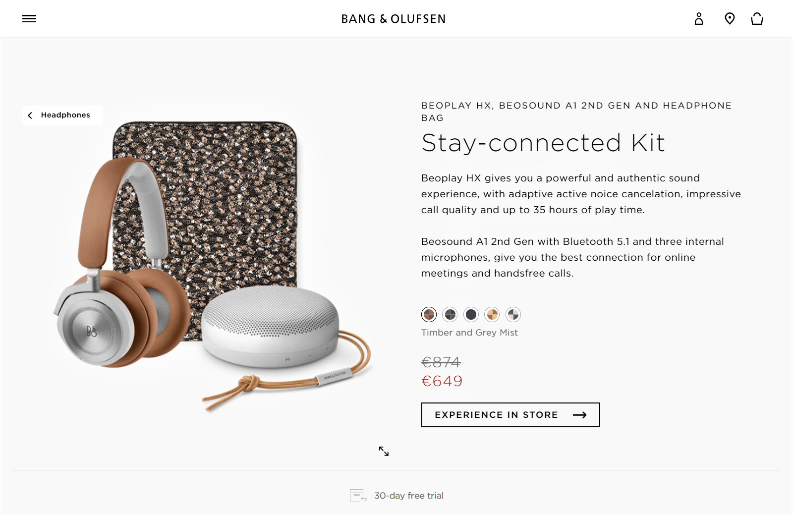Example of a detailed product page with Bang and Olufsen