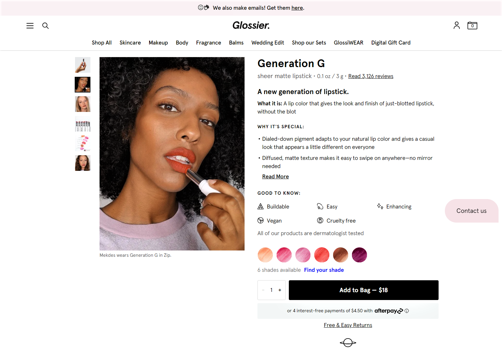 Example of the Glossier product page design